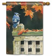 "AUTUMN BLUE JAY ON FENCE POST LARGE GARDEN BANNER FLAG 28""x 40"" FALL HOME DECOR"