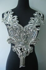 BD09 Silver Sequin Beaded Applique Floral Fringed Bodice Motif Dancewear
