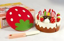 mother garden wooden toy play house red strawberry happy birthday cake cut gift
