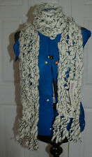 NEW Scarf wool Chunky knitted white and black with tassels