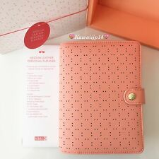 NEW KIKKI K PEACH MEDIUM PERFORATED LEATHER PLANNER AGENDA