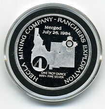 HECLA MINING COMPANY RANCHERS EXPLORATION 1985 1 TROY OUNCE SILVER ROUND
