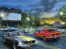 LED Lighted~Vintage Scene Sports Muscle Car~Canvas Art Picture Decor Light Print