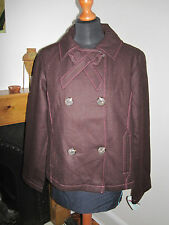 HEATHERETTE wool double breasted JACKET swing COAT £250 12-14 burgundy smart