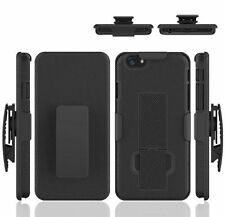 For iPhone 6 Plus Rugged Dual Holster Hard Case with Fold Stand Belt Clip Black