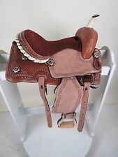 "Pony Youth Kids Leather Western Barrel Trail  Saddle 13"" Laced Cantle Sued"