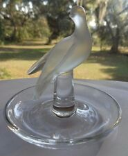 LALIQUE FRANCE CHARIS TURTLE DOVE WINGS DOWN CRYSTAL RING PIN DISH SIGNED
