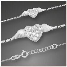 Fußkette 925 Silber Herz mit Zirkonia und Venezianerkette mit Verlängerung