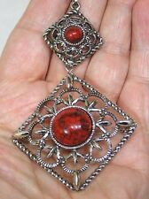 Vintage Sarah Coventry Signed Pendant Necklace Ornate Diamond Shape Marbled Cab