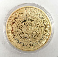 1 Coin Mayan Aztec Calendar Stone Medallion Gold Plated Medal Unique Clear case