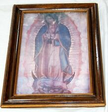 Vintage Religious Print Lady Rock Blessed Virgin Mary Madonna Picture Print Jesu