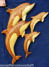 M Hawaiian Swimming Jumping Dolphin Family Handcrafted Wood Wall Hanging Art