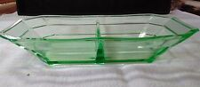Green Depression Glass Divided Candy/Nut/Relish Dish ~ 8-1/4 x 4-1/2 x 1-1/2