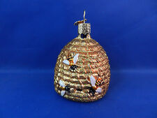 Bee skep honey hive bees Glass Merck Old World Christmas Ornament animal 12391
