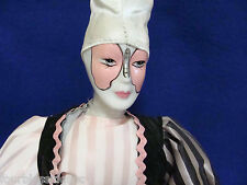 "1970'S HARLEQUIN 18"" JESTER DOLL/CLOWN-PORCELAIN-CLOTH BODY-METAL STAND-BUTTERFL"