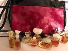 VTG Estee Lauder Lot 10 Mini Perfume Spellbound Tuscany Azuree Cinnabar W/Bag P1
