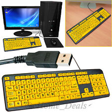 PC Laptop Large Print USB Wired Keyboard UK Layout High Contrast Numeric Keypad