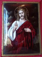 Superbe qualité antique french émail de limoges jésus christ sacré coeur signé