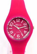 Ravel Ladies Modern Analogue Casual Summer Watch with Hot Pink Silicone Strap