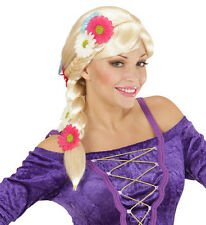 Ladies Rapunzel Wig w/Flowers Fairytale Princess Tangled Plaited Fancy Dress