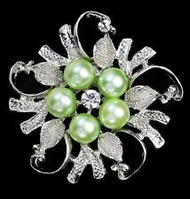NEW SILVER/GOLD PEARL AND FLOWER RHINESTONE DIAMANTE CRYSTAL PIN BROOCH WEDDING