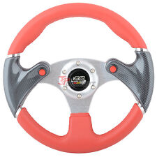 320mm JDM Spec 6-Hole Racing Sport Steering Wheel Black Carbon Fiber Red PVC
