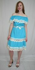 Vintage 70s Blue CROCHET Lace Pintuck MEXICAN Hippie Boho Festival Dress~ML