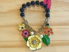 NWT Betsey Johnson Secret Garden Flower Bee  Leaves Charms Stretch Bracelet