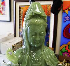 """19"""" China Green Jade Hand Carved Kwan-yin Guanyin goddess Buddha Statue"""
