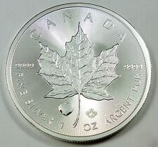 2015 Canada / Canadian Maple Leaf 1 oz .999 Fine Silver - Rare Heart Privy Mark