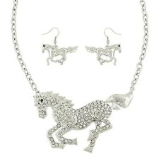 """Horse Necklace & Earrings Set - Sparkling Crystal - Fish Hook - 16"""" Chain"""