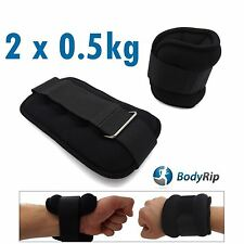 BodyRip 2 x 0.5Kg Leg Ankle Hand Wrist Weights Wraps Straps Bandage Gym Workout