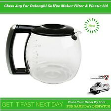 Replacement Glass Jug For Delonghi Coffee Maker Filter & Plastic Lid 7332183700