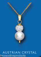 """Yellow Gold Real Cultured Pearl With Austrian Crystal Pendant & 18"""" Chain"""