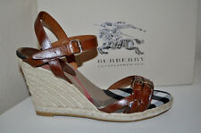 BURBERRY Bridle Housecheck  Espadrilles Wedge Platform Sandals Shoes Sz 41 / 11