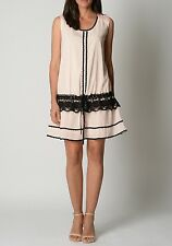 Lovely Soft Pink Silk Ladies Dress With Detail Black Crochet Size 14