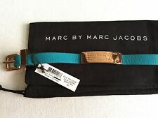 NEW Marc by Marc Jacobs Standard Supply ID teal leather rose gold tone bracelet
