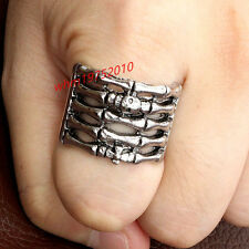 Size 8 Men's Silver Stainless Steel Hand Bone Skull Iron Cross Gothic Biker Ring