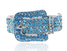 Fashion Belt Buckle Silver d Blue Zircon Sapphire Rhines Chic Bracelet Hot