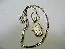 Beautiful 585/14K SOLID WHITE GOLD Necklace With PROTECTION Pendant HAND-HAMSA