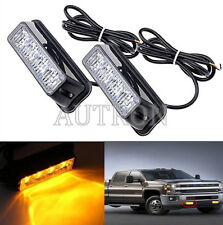 2x4LED Working Vehicle Grill Strobe Emergency Warning Side lamp net light Amber