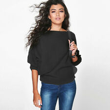 New Womens Oversized Batwing Sleeve Baggy Sweater Jumper Tops Sweatshirt Outwear