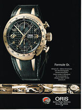 PUBLICITE ADVERTISING 094  2008  ORIS collection montres WILLIAMS F1    30°ann