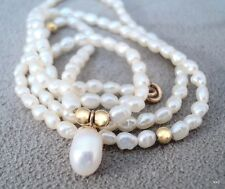 "Vintage Delicate Small Pearl Necklace with 14K Gold Beads & Clasp 16"" - Estate"