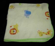 Carters Yellow Animals Giraffe Lion Plush Baby Blanket Watch The Wear Elephant