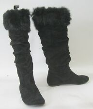 blacks slouch  flat sexy knee boot  TOP rabbit Fur ROUND TOE   Size.  5