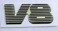 TVR V8 Gel Domed Black & Gold Effect Self Adhesive Badge 73x45mm