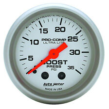 "Auto Meter Ultra-Lite Mechanical Boost Pressure Gauge 2-1/16"" (52mm) 0-35 Psi"