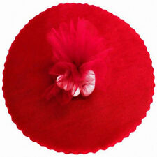 """50 Scalloped Tulle Circles 9"""" Wedding Favor Wrap - Red"""