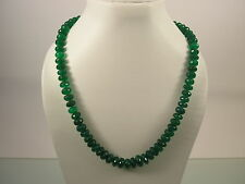 ATTRACTIVE VINTAGE GREEN ONYX  ASIAN BEAD SLIDING KNOT CORD NECKLACE (TT6)